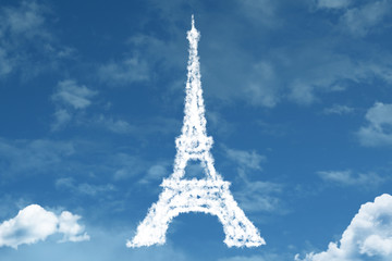Eiffel Tower on clouds