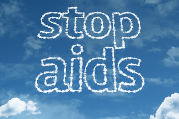 Stop Aids text on clouds