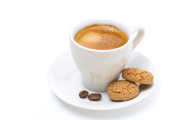 cup of coffee and biscotti, isolated