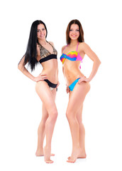 girls in bikini, two attractive caucasian young women in swimsui