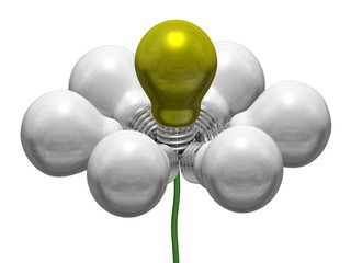 Flower of white and yellow light bulbs on green wire