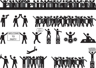 Party people silhouettes illustrated on white