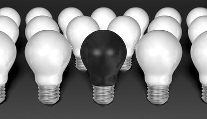 One black light bulb among many white ones on grey background