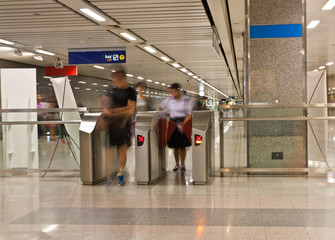 """Exit from the subway""""view abstract blur motion """""""