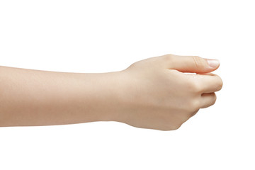 female teen hand to hold something side view
