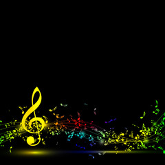 Musical notes staff background on black. Vector illustration