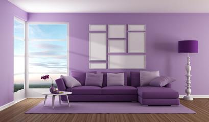 Purple contemporary living room