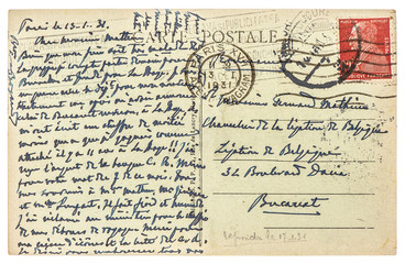 old used handwritten postcard letter with text