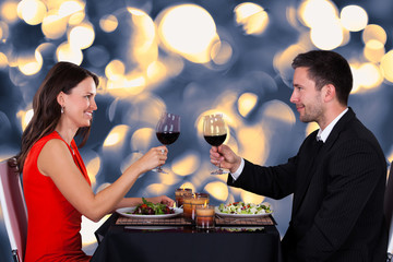 Happy Couple In Restaurant