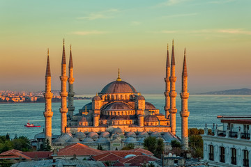 Photo sur Plexiglas Turquie Blue mosque in Istanbul in sunset
