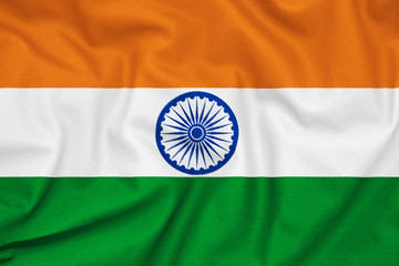 Keuken foto achterwand India Fabric texture of the flag of India