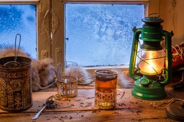 Fototapete - Hot tea in cold winter day
