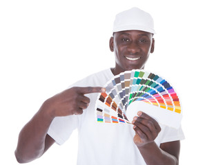 African Painter With Color Swatch