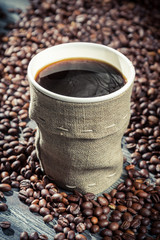 Fototapete - Closeup of freshly hot coffee
