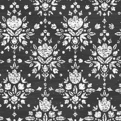 Vector chalk textured floral damask seamless pattern background