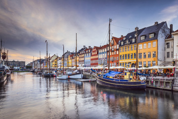 Tuinposter Scandinavië Copenhagen, Denmark at Nyhavn Canal
