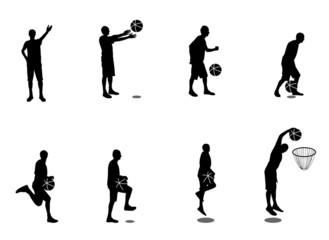 Set of Basketball Players Vector Illustration