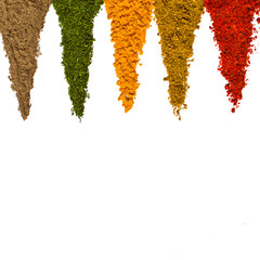 Türaufkleber Gewürze Different spices on a white background