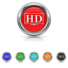 HD TV icon - six colours set