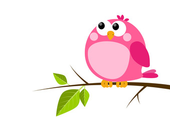 Cute pink bird on spring branch