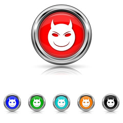 Evil icon - six colours set