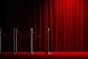 Rope barrier with red carpet and curtain