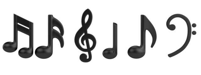 realistic 3d render of music signs
