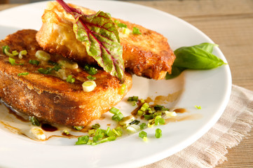Grain toasts with green onions and basil