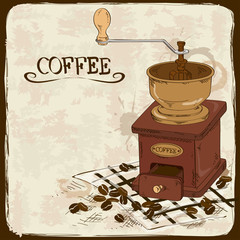 Illustration with coffee grinder
