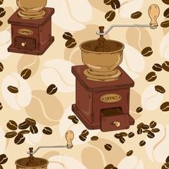 Seamless pattern of coffee grinder
