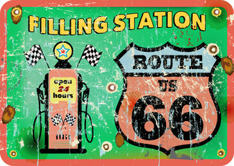 vintage gas station sign,route 66, vector illustration
