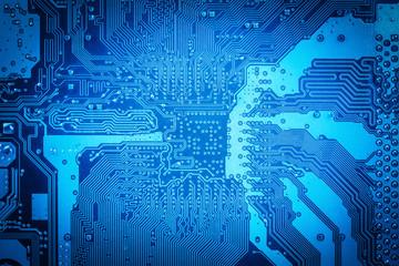 blue computer circuit board