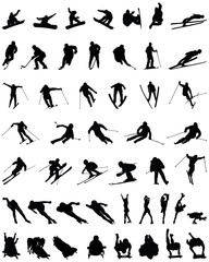 Set of winter sport silhouettes, vector