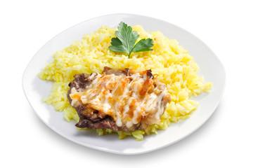 Fried pork fillet and white rice