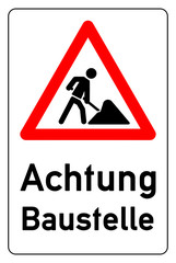 combination sign for road work ahead - german baustelle g477