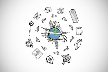 Composite image of landmarks of the world doodle