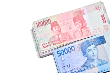 Indonesian Rupiah on a white background.