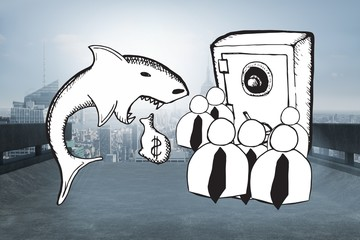Composite image of loan shark and finance doodles