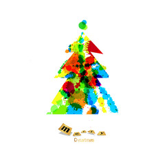 Abstract Vector Colorful Christmas Tree Made From Splashes