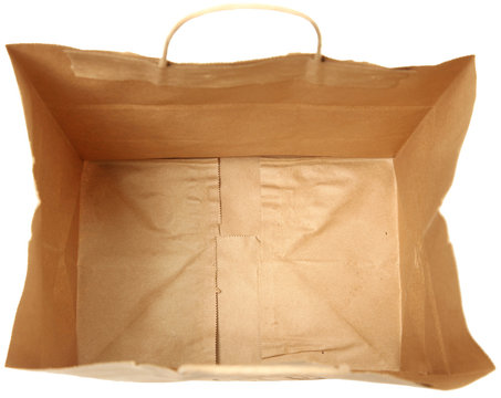 Empty Brown Paper Bag Top View Looking Inside