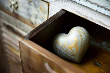 Hearts made ​​of wood in a drawer, valentine day