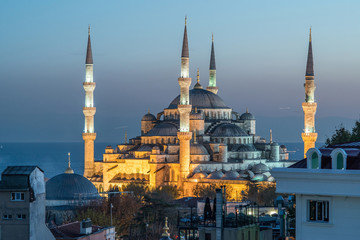 night view of Sultanahmet mosque