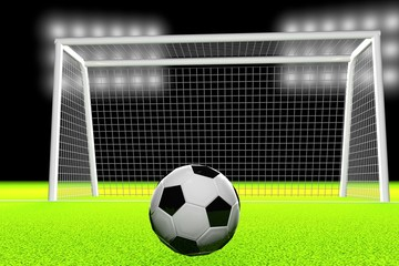 3d soccer ball and goal