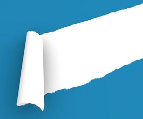 Strappo carta foglio blu arrotolare arricciare