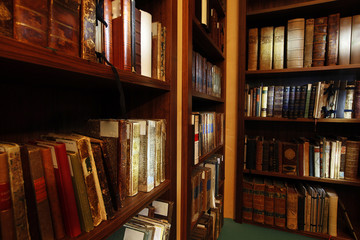 Old books in library archives