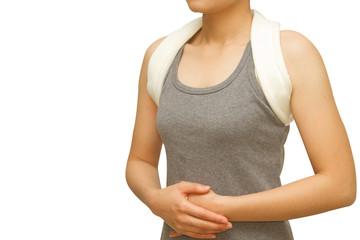 woman wearing a shoulder brace