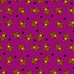 Cute romantic seamless pattern with little hippos