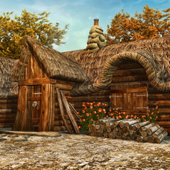 Drewniana chatka ze słomianym dachem