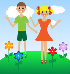 merry  girl and boy in summer on lawn