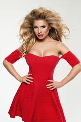 Beautiful Woman Blonde Fashion Model in red dress